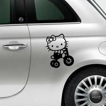 Hello Kitty Bicycle Fiat 500 Decal
