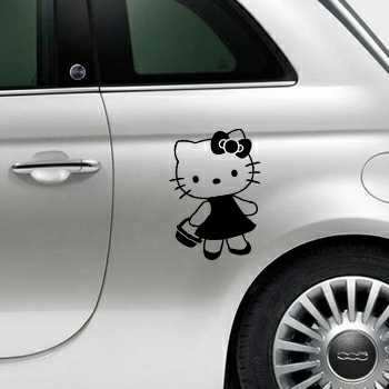 Sticker Fiat 500 Deko Hello Kitty Panier