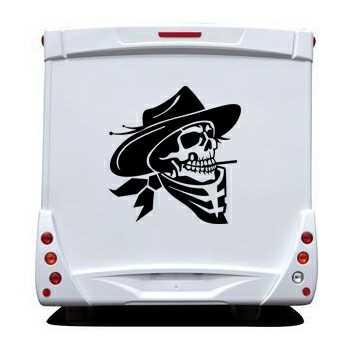 Cowboy Skull Camping Car Decal