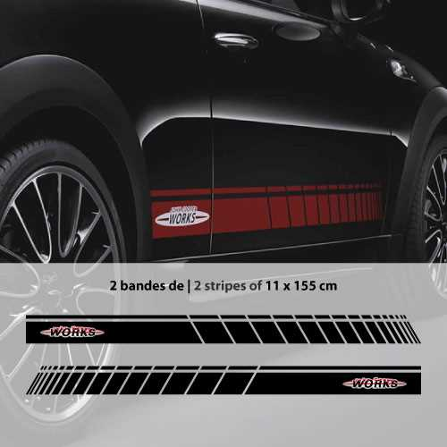 Car side Mini John Cooper Works stripes stickers set