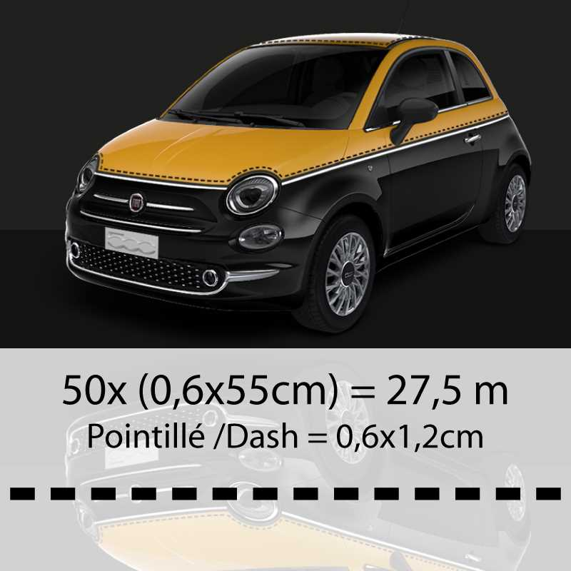kit autocollants liser s en pointill style fiat 500 comics. Black Bedroom Furniture Sets. Home Design Ideas