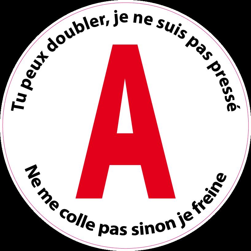 """Aufkleber""""A"""" Jeune Conducteur pas pressé (15 cm)"""