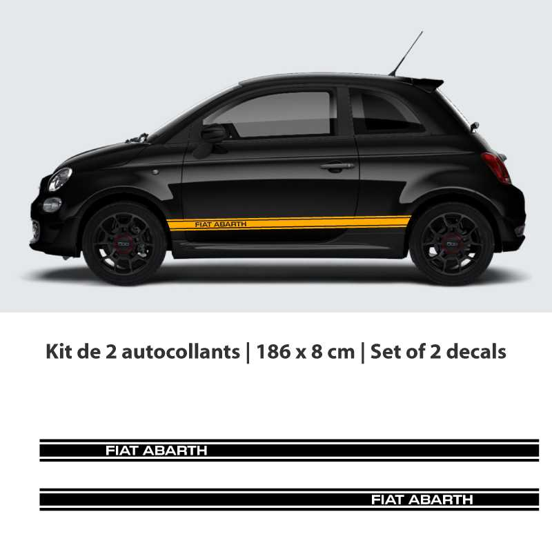 Fiat 500 Abarth Car Stripes Stickers Set 2nd Model