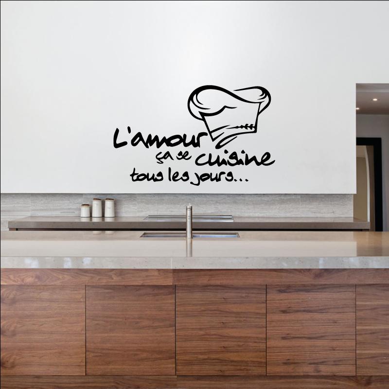 autocollant l 39 amour a se cuisine tous les jours. Black Bedroom Furniture Sets. Home Design Ideas