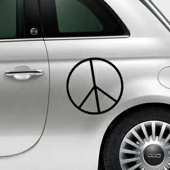 Stencil Fiat 500 Peace & Love III Logo