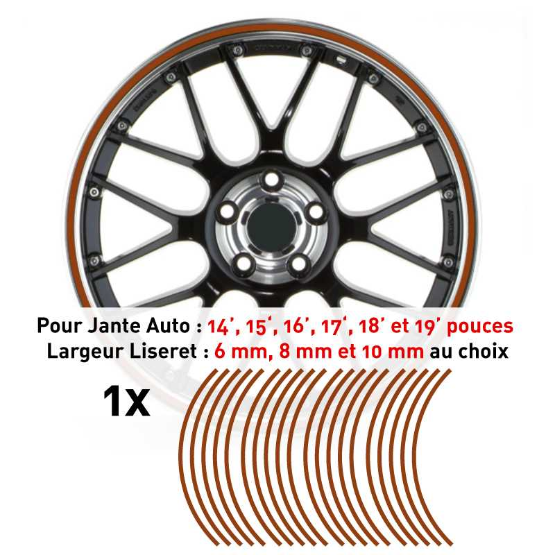 Decal Car Wheel Rim Brown