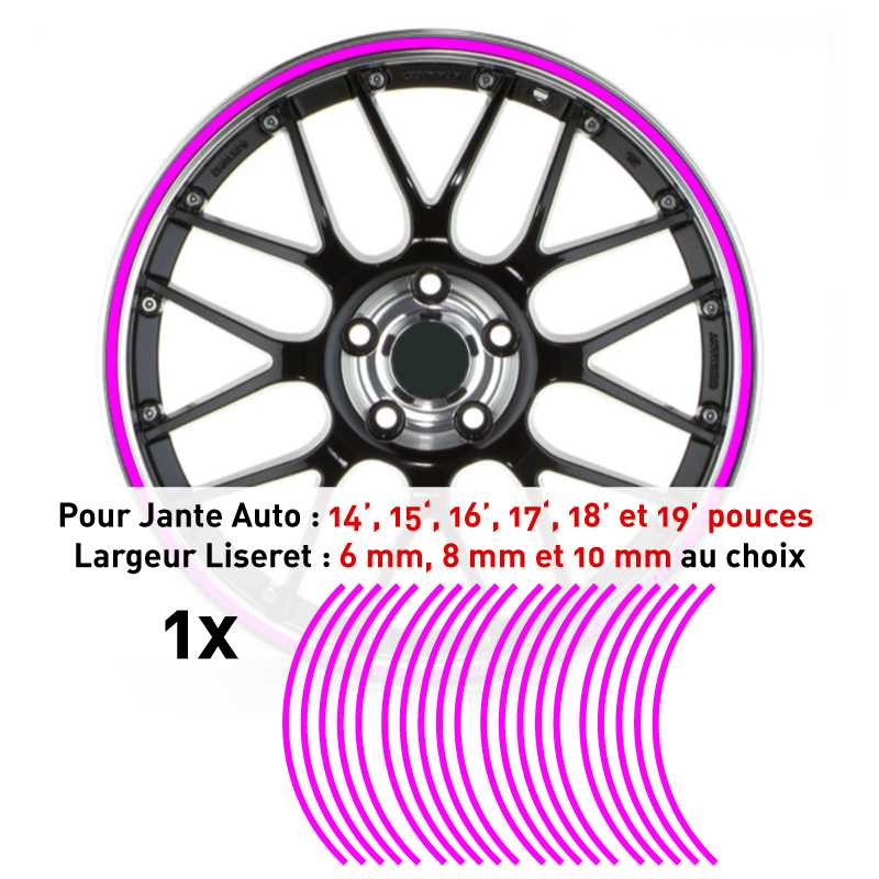 Decal Car Wheel Rim Fuchsia