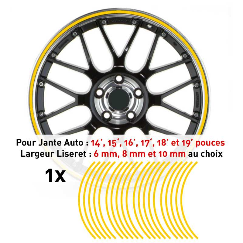 Decal Car Wheel Rim Yellow