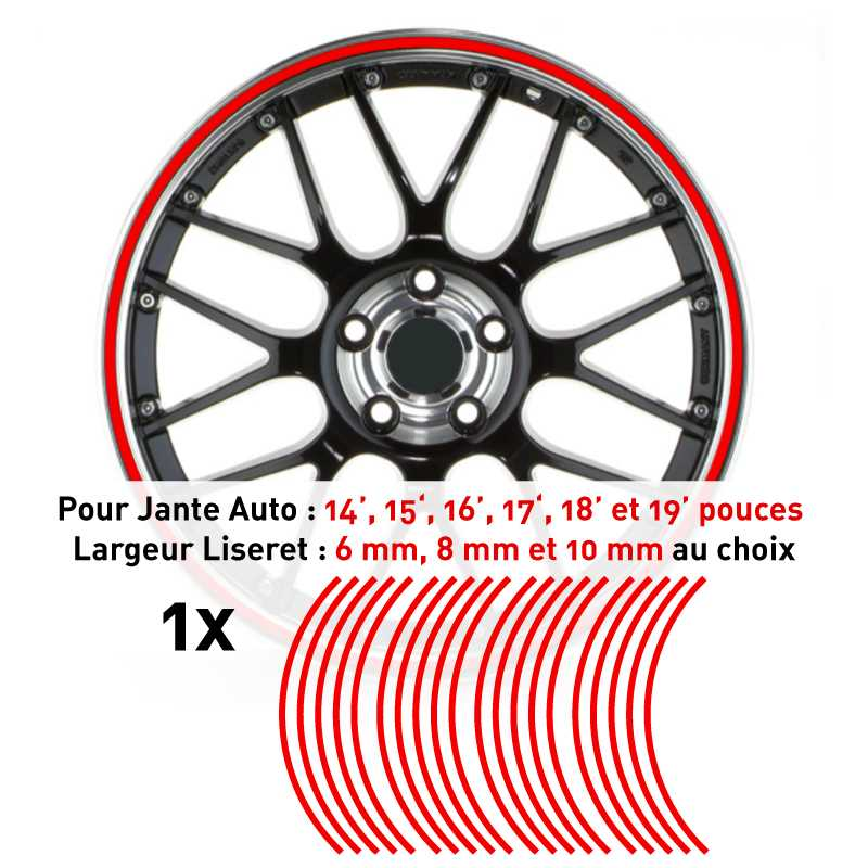 Decal Car Wheel Rim Red