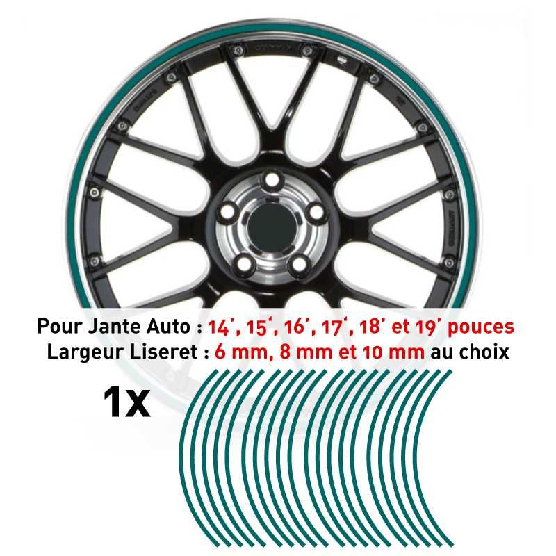 Decal Car Wheel Rim Turquoise