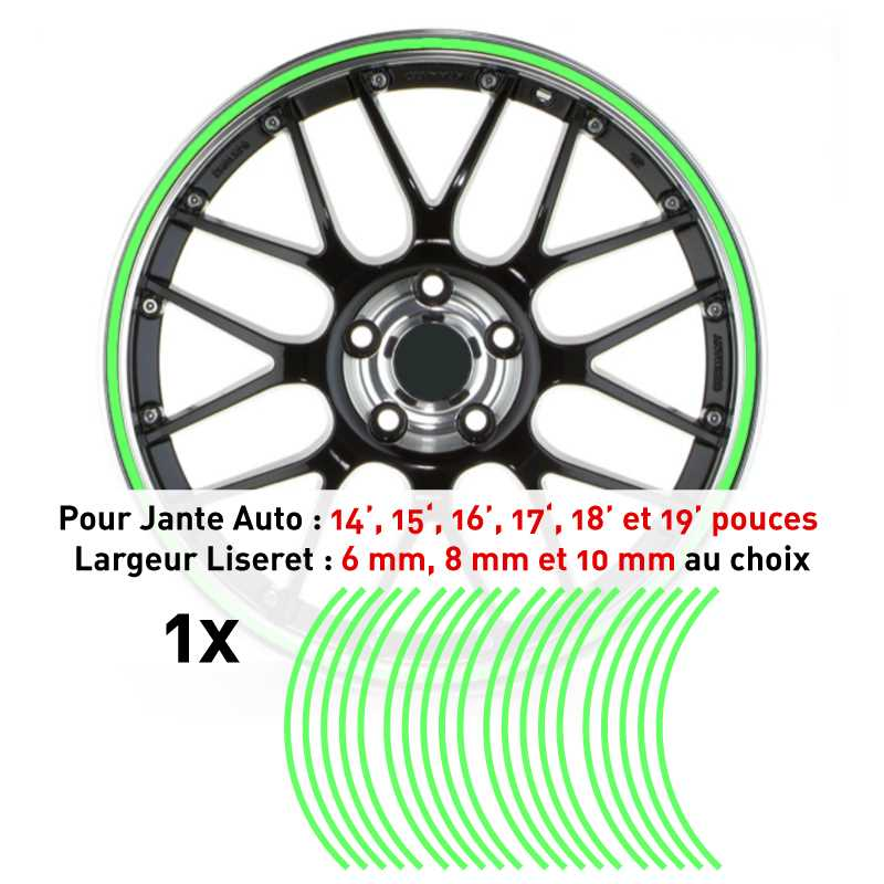 Decal Car Wheel Rim Lime green