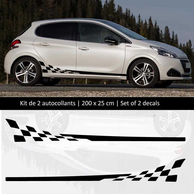 Kit Aufkleber Stickers Bande Seitenleiste Peugeot 208 Style Racing