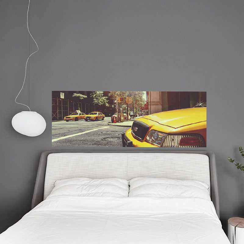 sticker t te de lit new york taxi. Black Bedroom Furniture Sets. Home Design Ideas