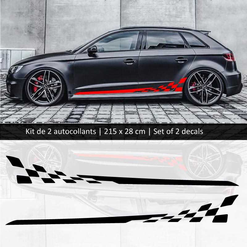 Red White And Blue Auto Sales >> Sticker Set Kit Audi A3 style Racing side stripes decals