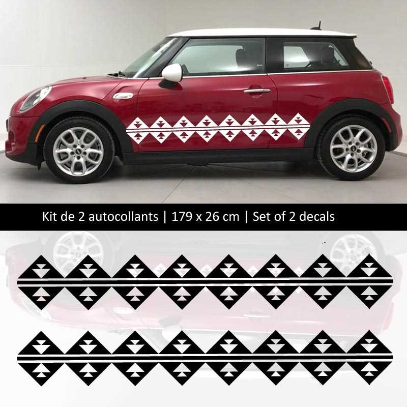 Kit stickers bandes bas de caisse Mini Cooper style Maya