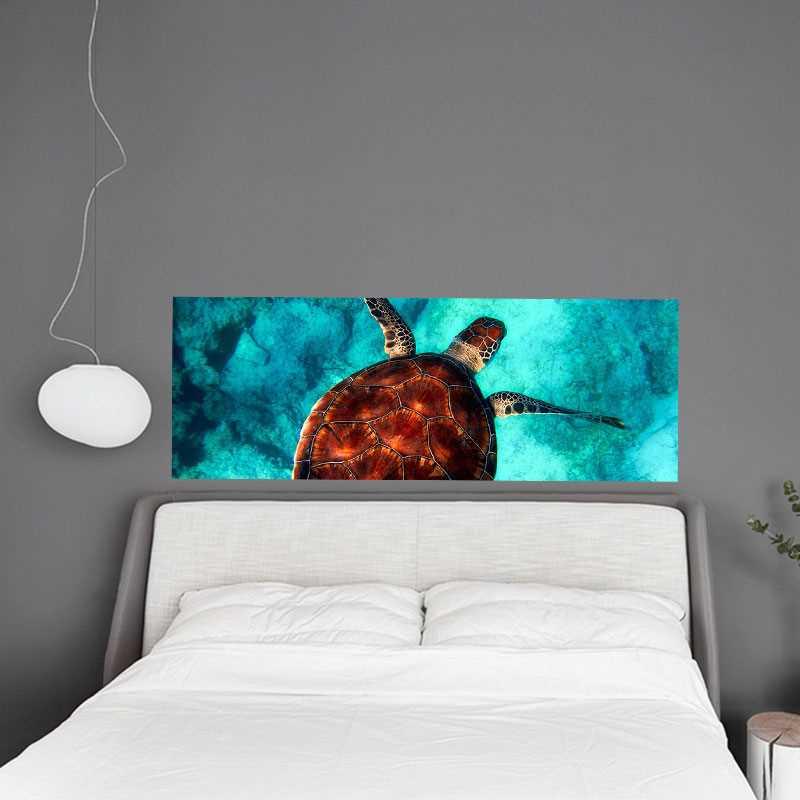 sticker t te de lit tortue de mer. Black Bedroom Furniture Sets. Home Design Ideas