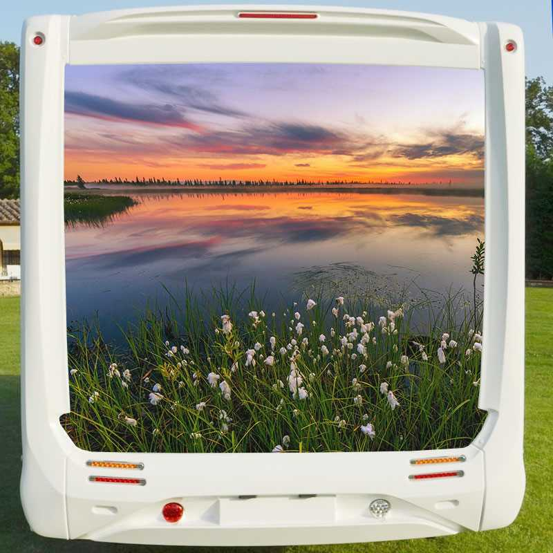 sticker deco camping car coucher de soleil au lac. Black Bedroom Furniture Sets. Home Design Ideas