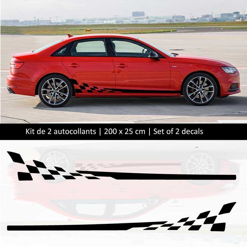 Sticker Set Audi A4 style Racing side stripes decals