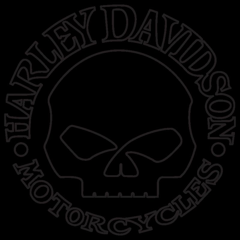 Harley Davidson Skull Contour Line Decal