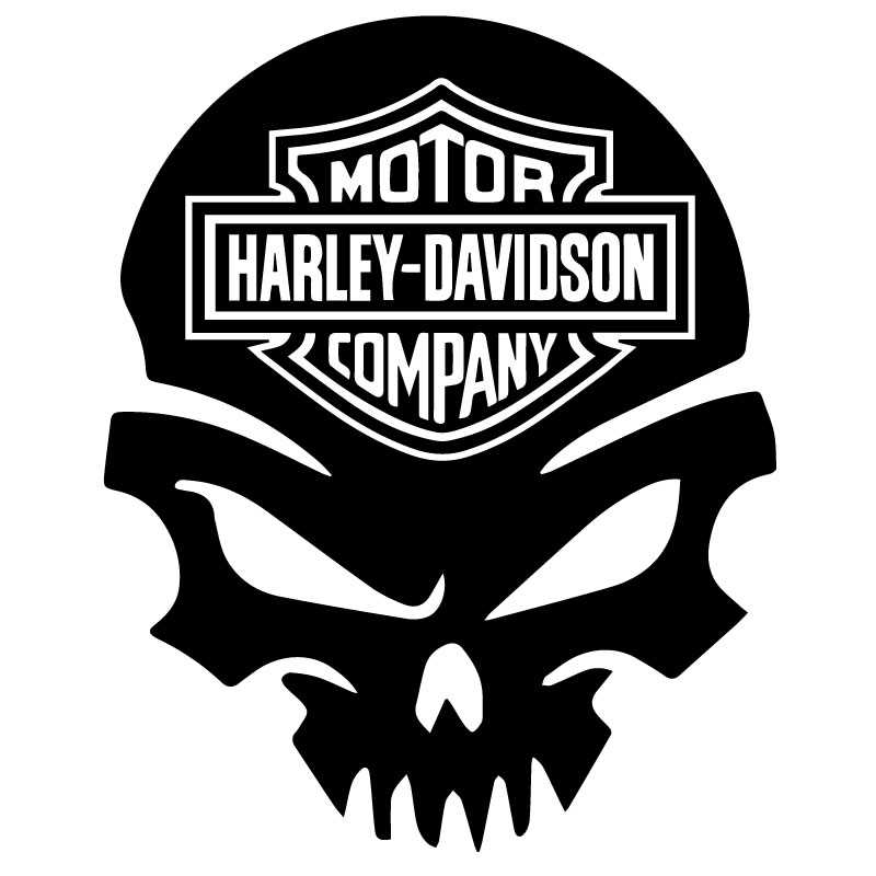 Harley Davidson Skull with Logo Decal