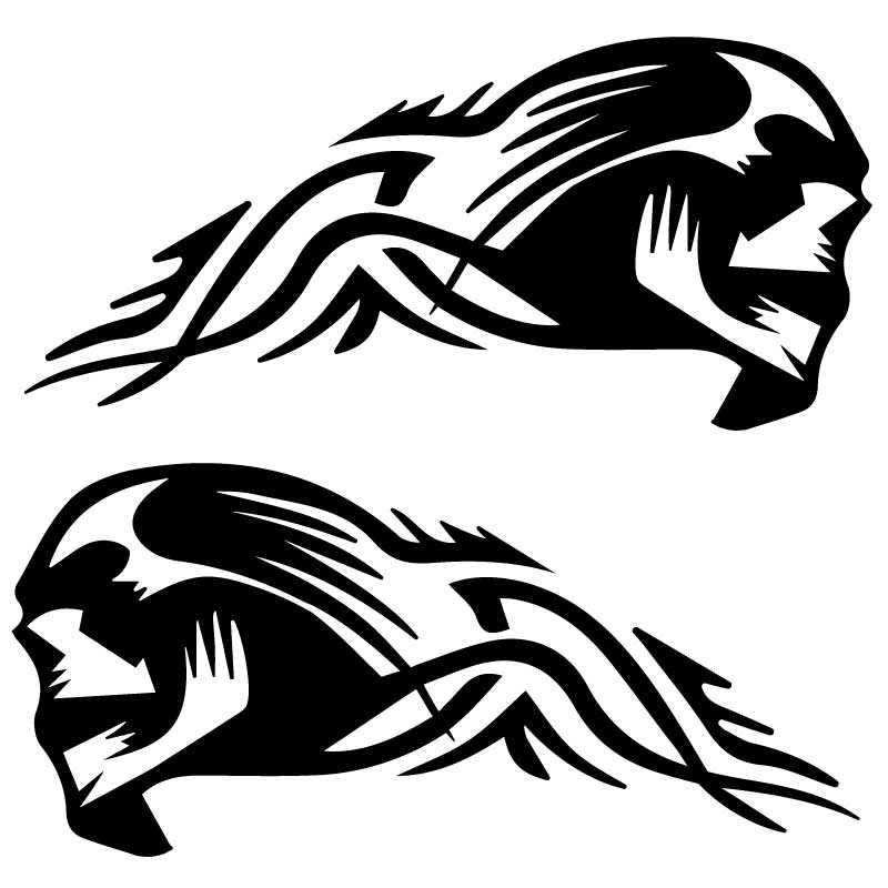 Set of 2 Harley Davidson Skull Tribal Decals