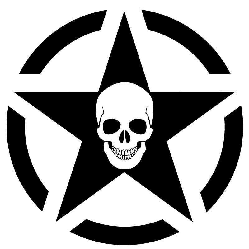 Sticker US ARMY STAR Decal Skull