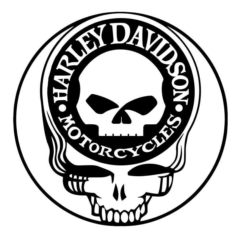 Sticker Decal Harley Davidson Motorcycles Logo On The Skull