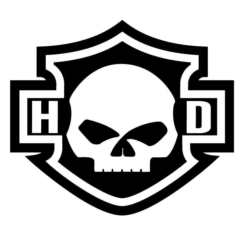 Harley Davidson Logo Silhouette Skull Decal HD