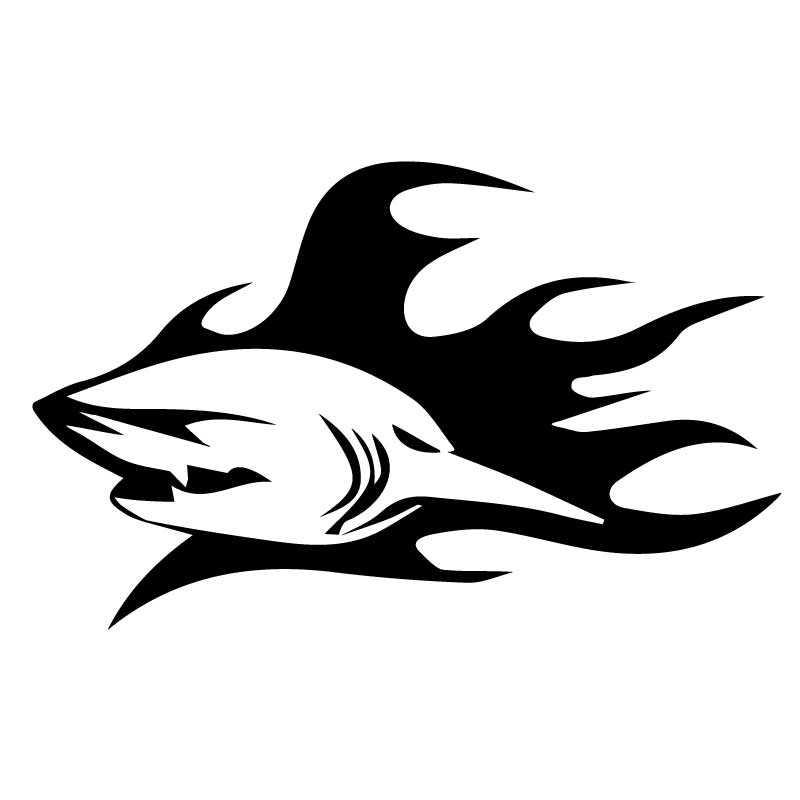 Sticker Shark Flames Decal
