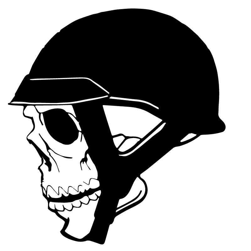 Skull With Helmet Decal