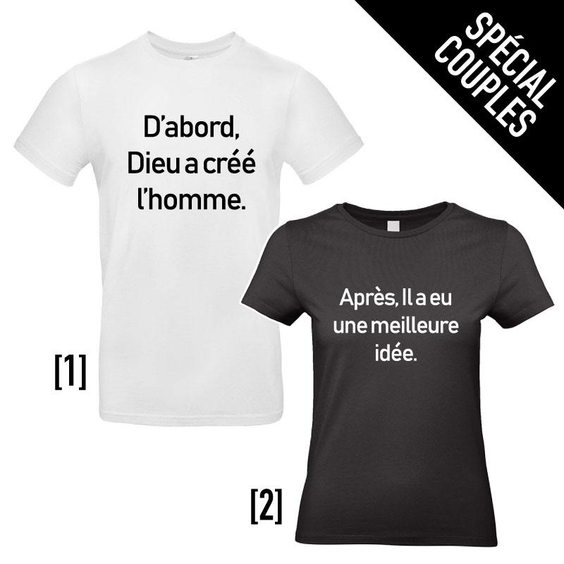 Tee-shirts pour Couples - Dieu a créé l'Homme...