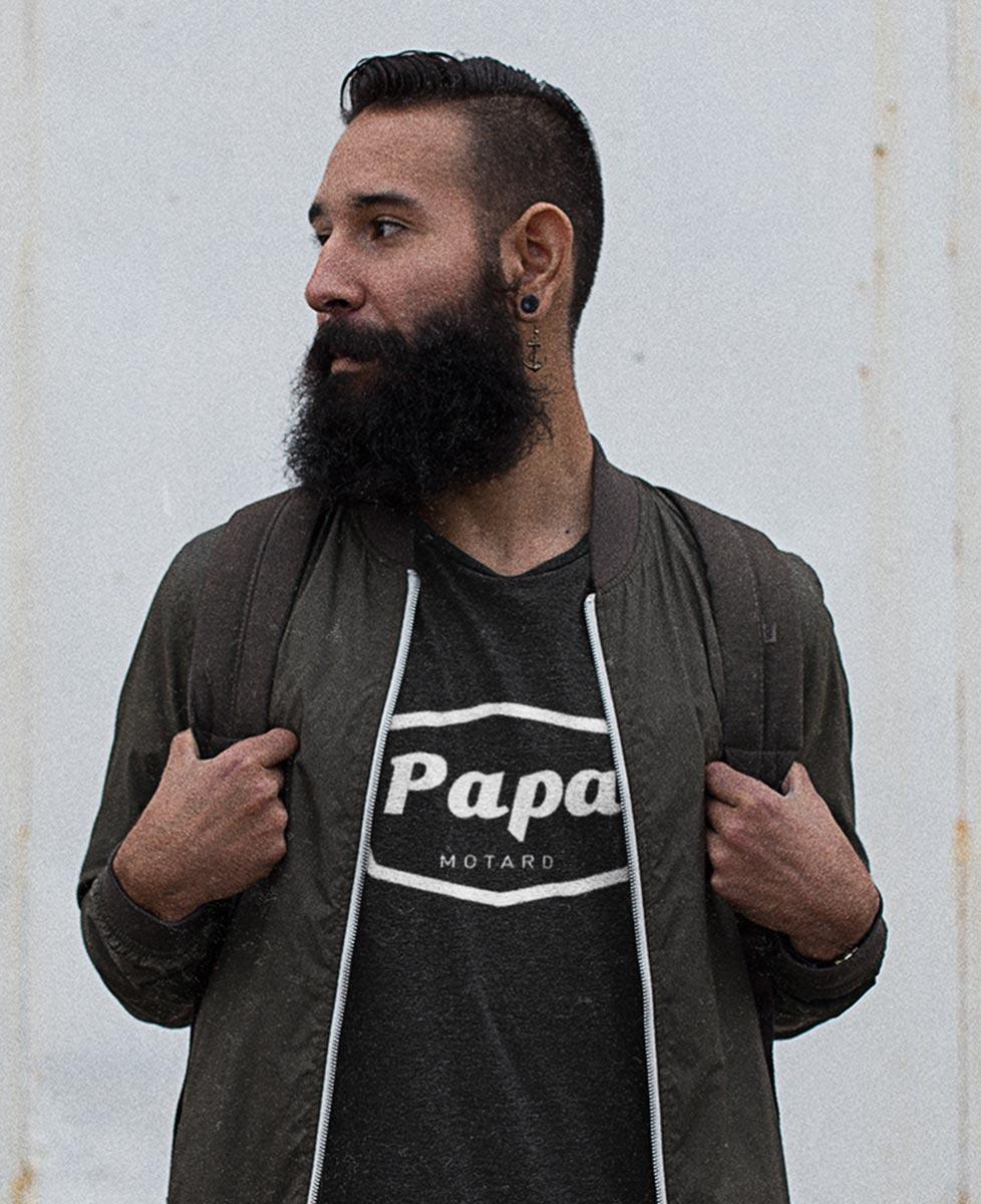 """Tee shirt """"Papa Motard"""" Barbe"""