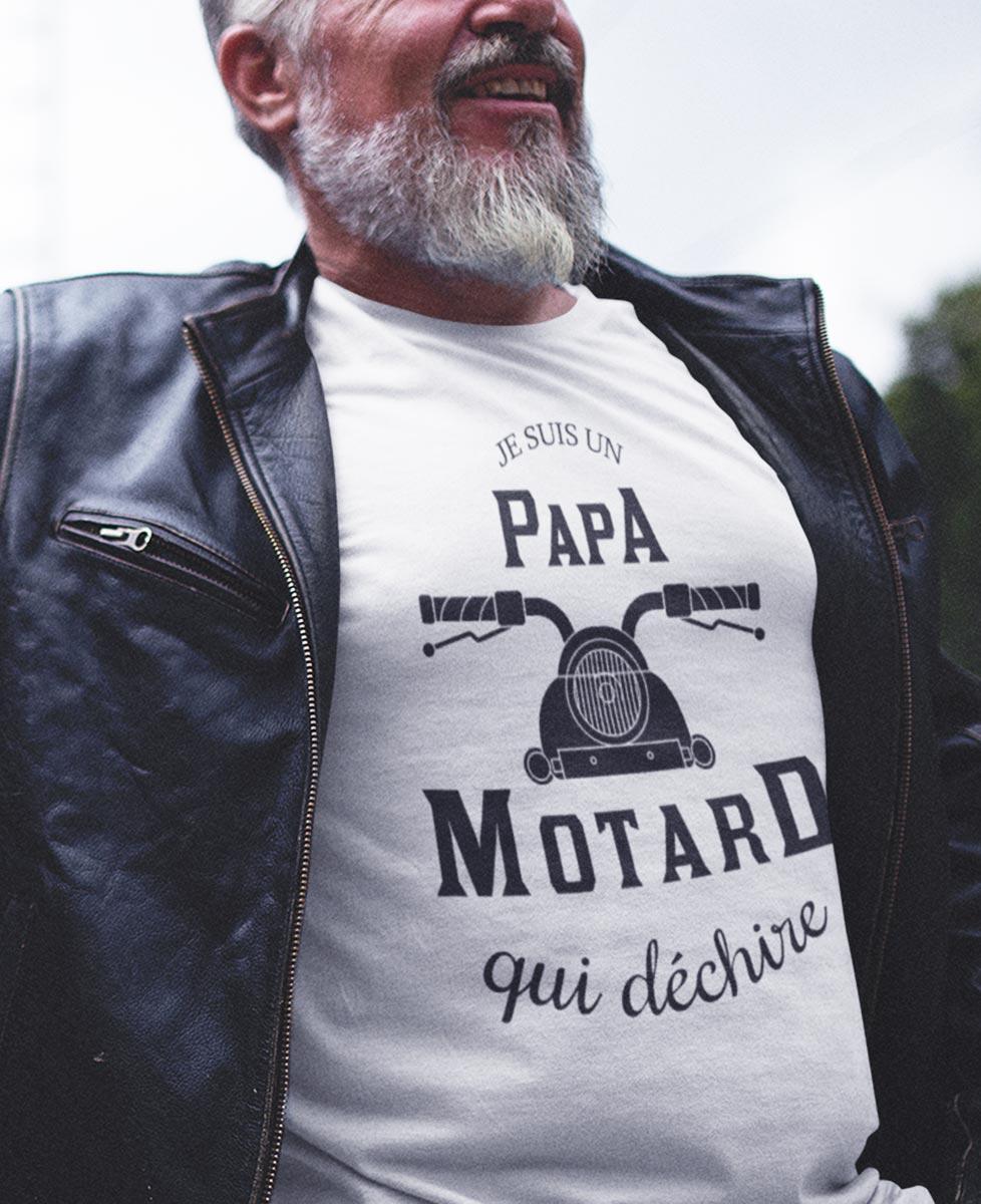 """Tee shirt """"Je suis un papa motard qui déchire"""""""