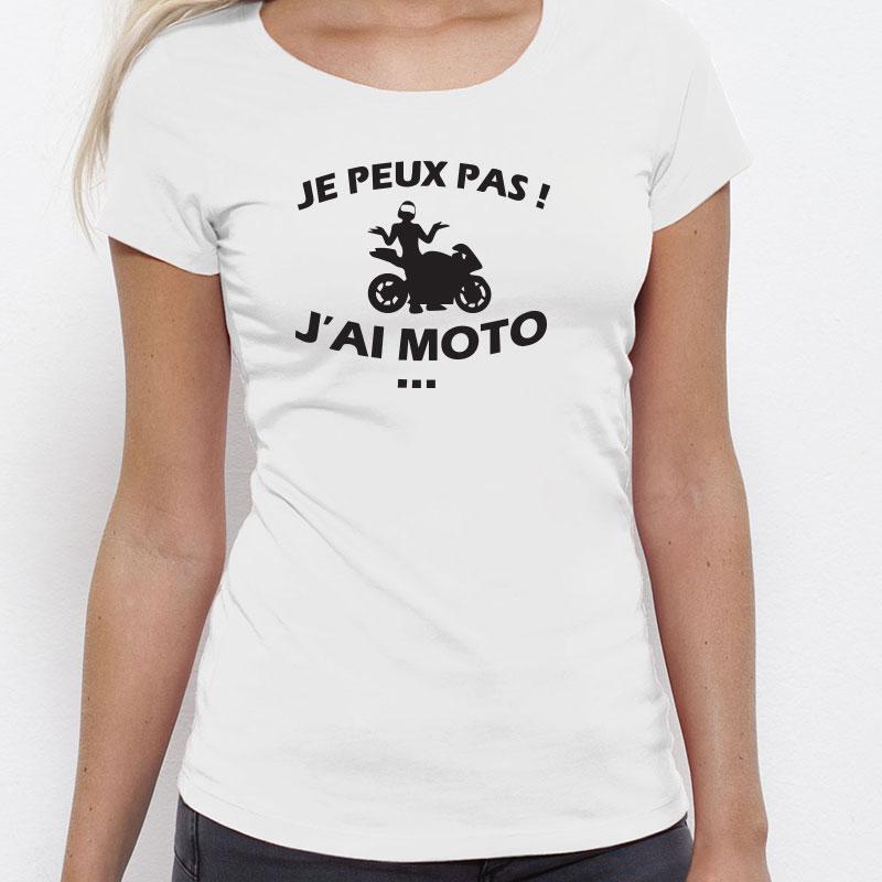 "Tee shirt ""Je peux pas j'ai moto"""