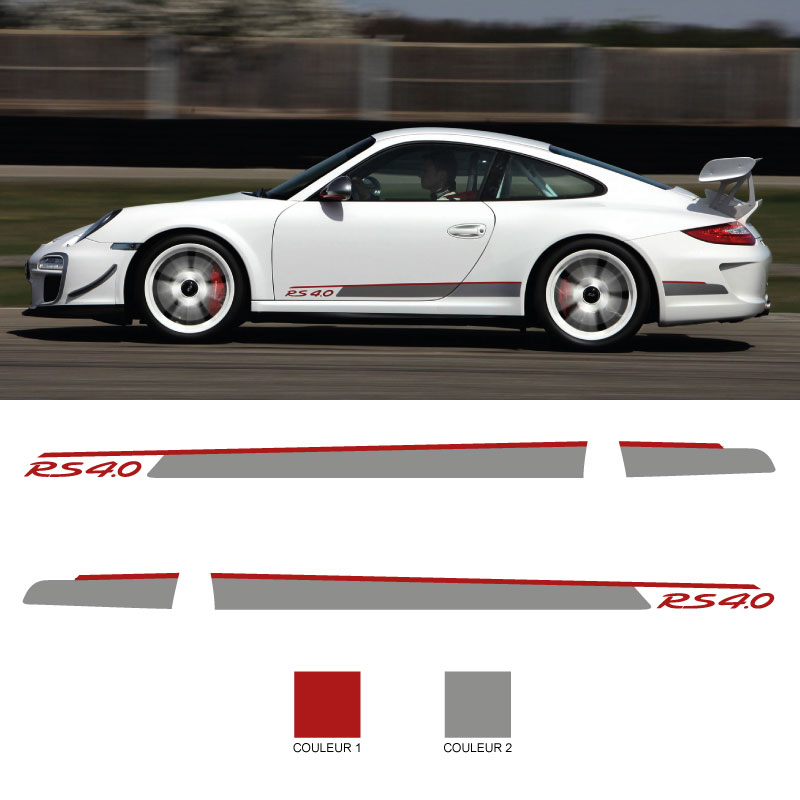 Car Side Stripes Decals Set Porsche 911 RS 4.0