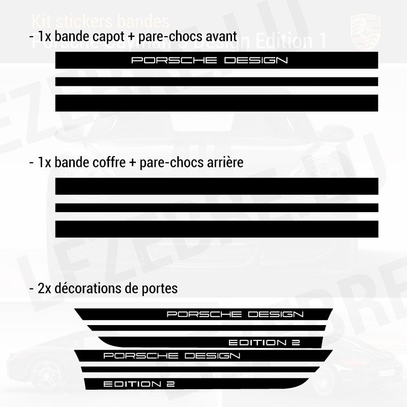 Kit Stickers Bandes Porsche Boxster S Design Edition 2