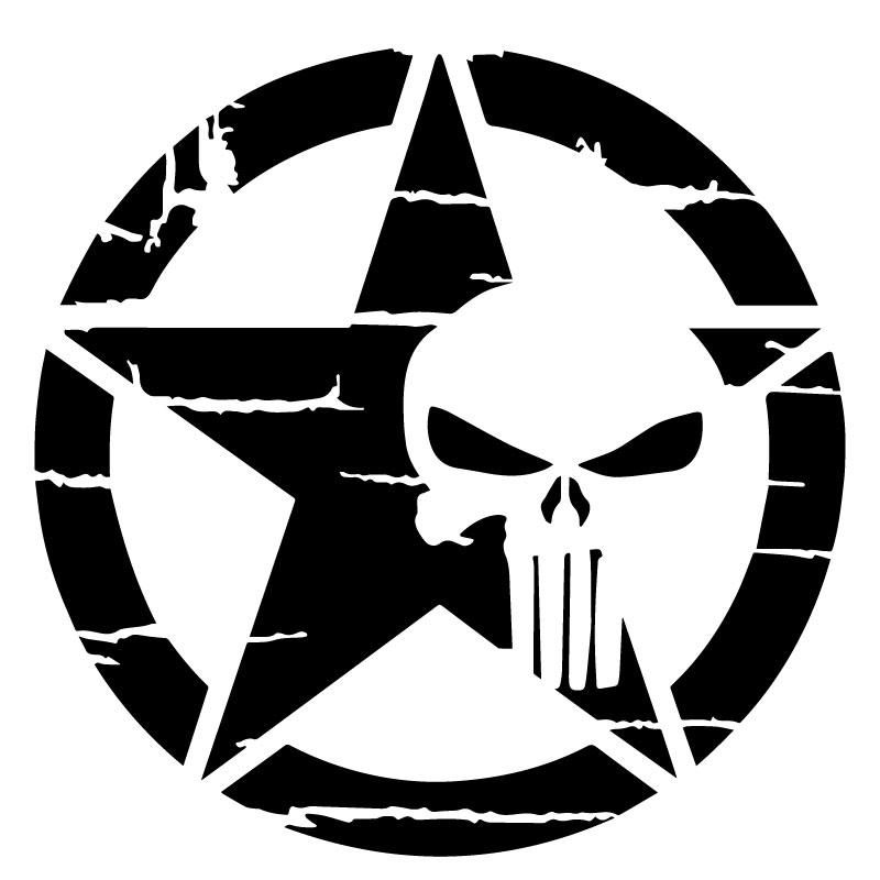 US ARMY STAR Punisher Rough Decal