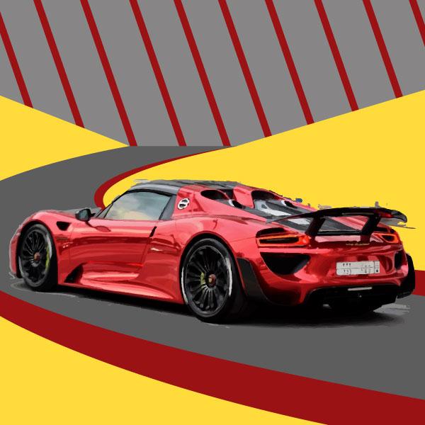 Tableau Porsche 918 jaune 4 48529 Tableau Toile Porsche 918 Spyder Canvas