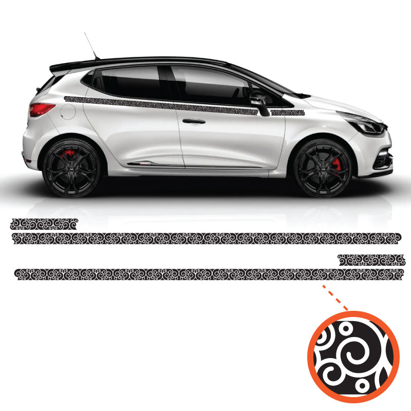 Car Side Renault Clio Abstract Ornament Decals Set