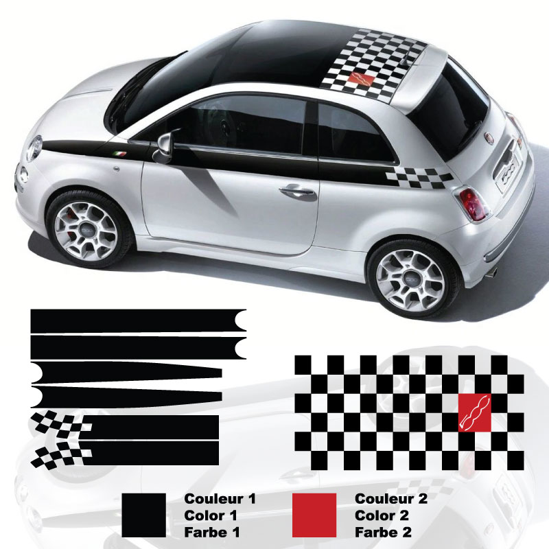 Kit Stickers Bandes & Toit Fiat 500 F1 Limited Edition