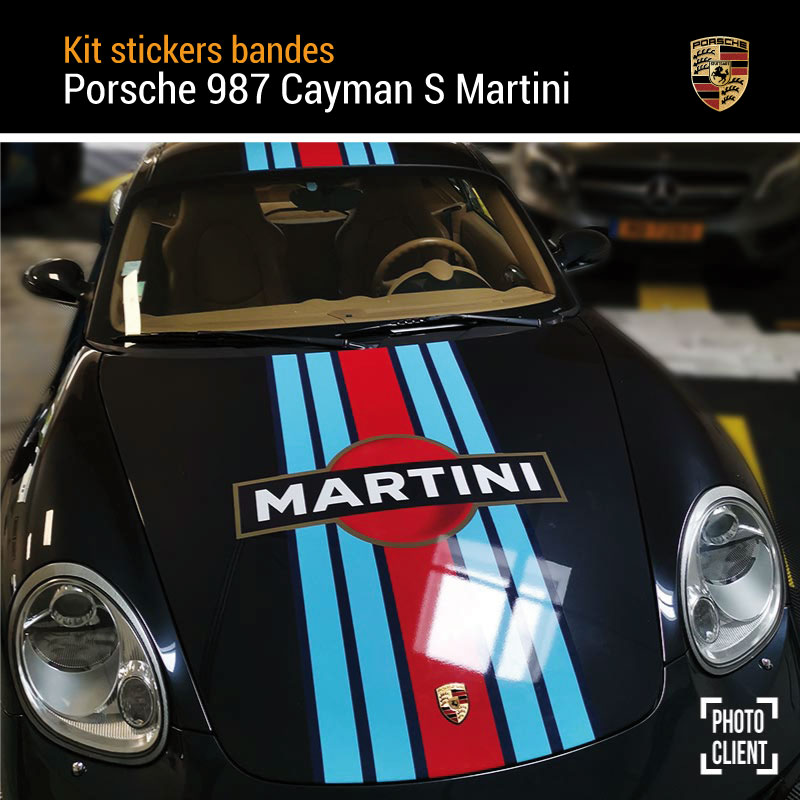 Porsche 987 Cayman S Martini Stripes Decals Set
