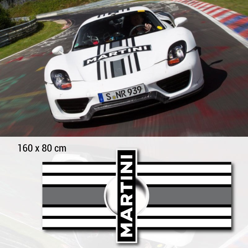 Porsche Martini Motorhaube Aufkleber