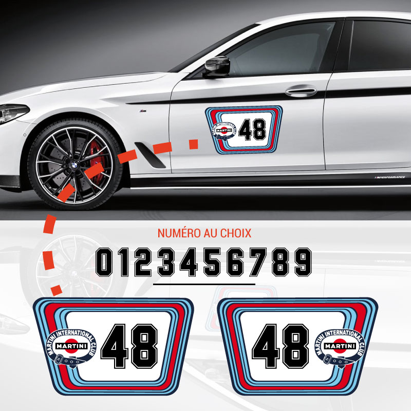 Martini International Club Racing Car Door Decals Set