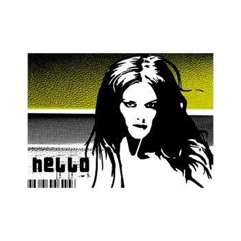 Sticker Géant Hello Design Fille