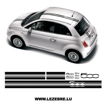 Fiat 500 Decoration Car Stripes Decals Set