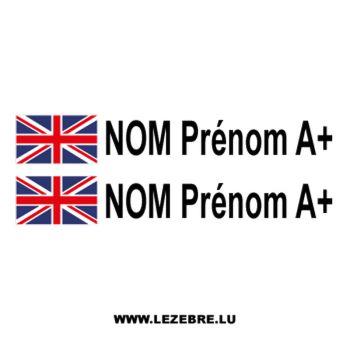 2x British Flag Steering Wheel Pilot / Co-pilot Custom Decals