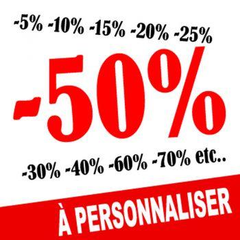 Sticker Lettrage Soldes -50% à Personnaliser