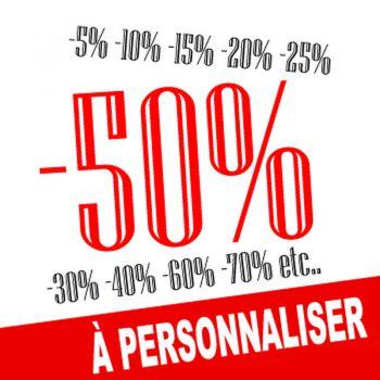 Sticker Lettrage Soldes -50% à Personnaliser V