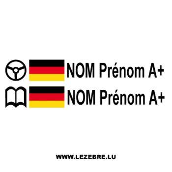 2x German Flag Steering Wheel Pilot / Co-pilot Custom Decals