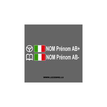 2x Italian Flag Steering Wheel Pilot / Co-pilot Custom Decals